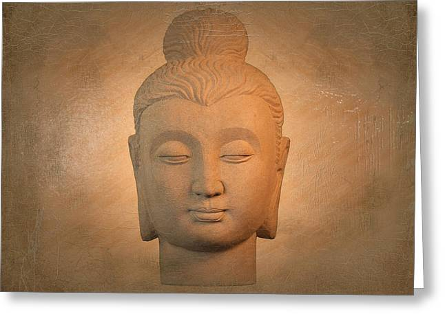 Tranquil Sculptures Greeting Cards - antique oil effect Buddha Gandhara Greeting Card by Terrell Kaucher