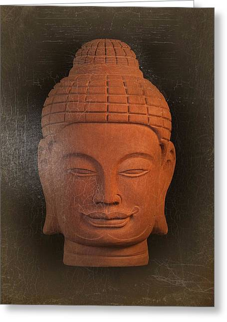 Tranquil Sculptures Greeting Cards - antique oil effect Buddha Khmer Greeting Card by Terrell Kaucher