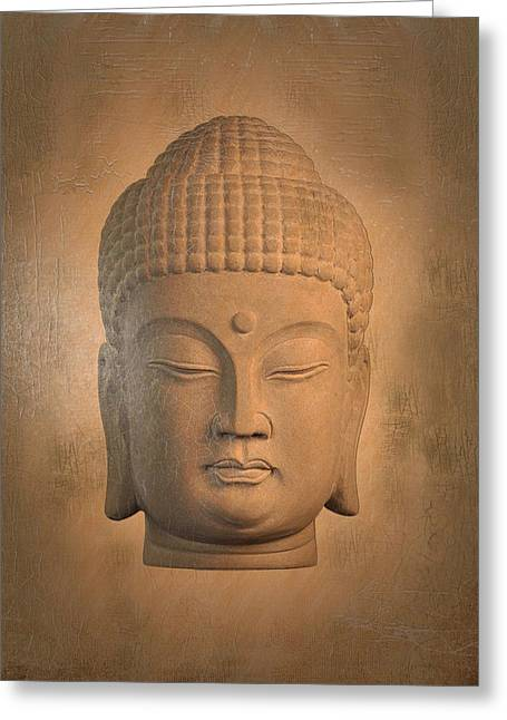 Tranquil Sculptures Greeting Cards - antique oil effect Buddha Korean , Greeting Card by Terrell Kaucher