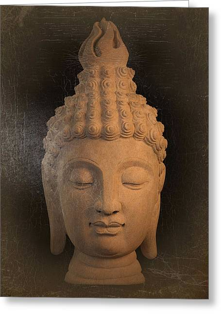 Tranquil Sculptures Greeting Cards - antique oil effect Buddha Sukhothai Greeting Card by Terrell Kaucher