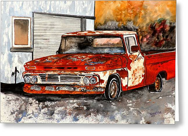 Old Trucks Drawings Greeting Cards - Antique Old Truck Painting Greeting Card by Derek Mccrea