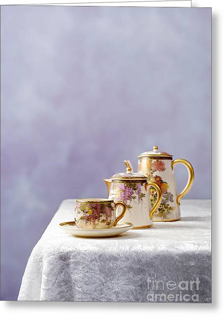 Cushion Photographs Greeting Cards - Antique Oriental Teaset Greeting Card by Amanda And Christopher Elwell