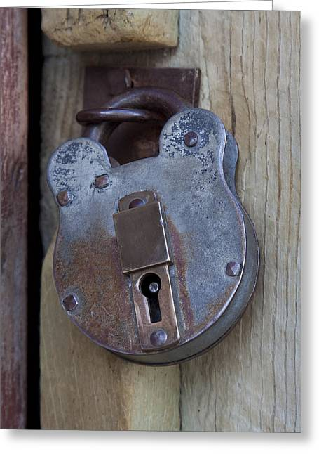 Grapple Greeting Cards - Antique Padlock 1 Greeting Card by John Brueske