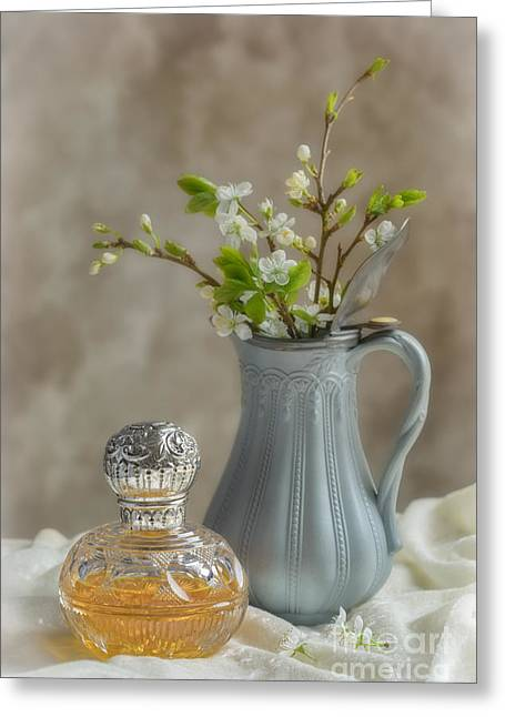 Glass Vase Greeting Cards - Antique Perfume Bottle Greeting Card by Amanda And Christopher Elwell
