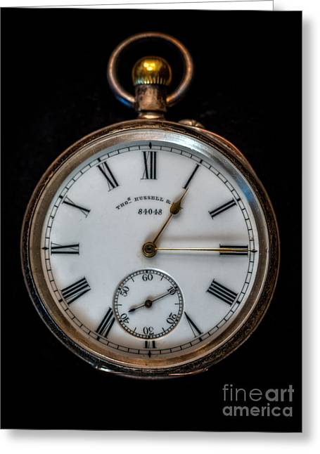 Signing-up Greeting Cards - Antique Pocket Watch Greeting Card by Adrian Evans