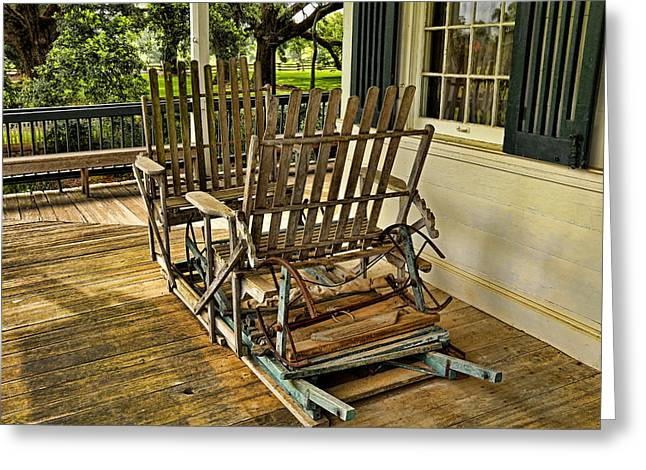 Historic Home Greeting Cards - Antique Porch Swing Greeting Card by Judy Vincent
