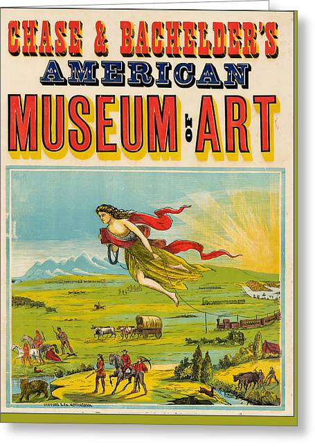 Antique Poster Chase And Bachelder's American Museum Of Art 1875 Greeting Card by Stafford and Company