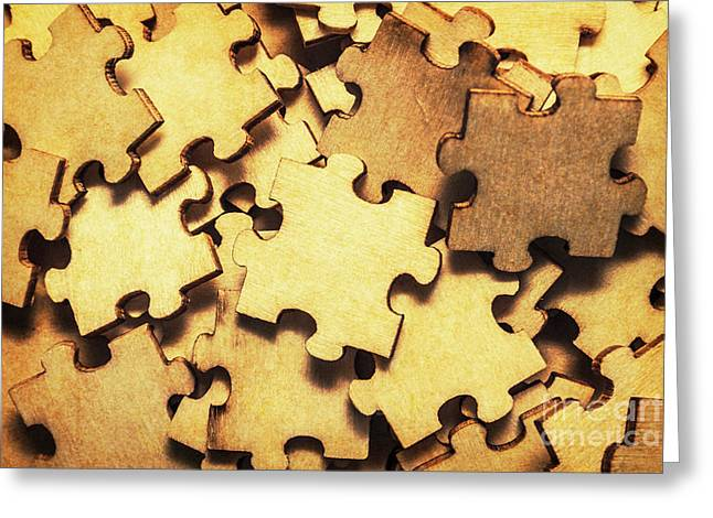 Antique Puzzle Of Missing Links Greeting Card by Jorgo Photography - Wall Art Gallery