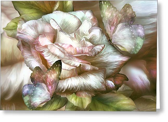 Antique Rose And Butterflies Greeting Card by Carol Cavalaris