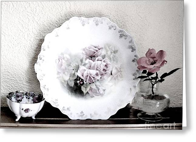 Knockout Digital Greeting Cards - Antique Roses Of Old Greeting Card by Marsha Heiken