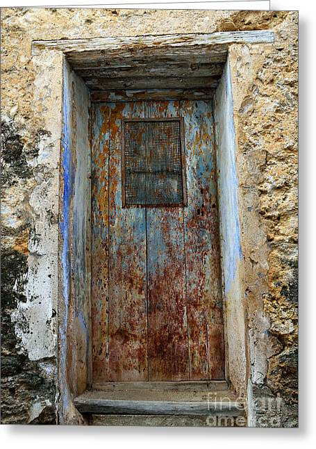 Netting Greeting Cards - Antique rustic door Greeting Card by RicardMN Photography