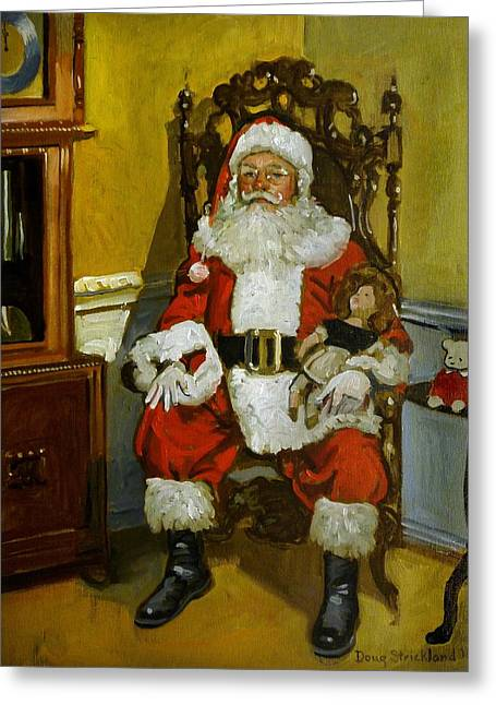 Doug Strickland Greeting Cards - Antique Santa Greeting Card by Doug Strickland