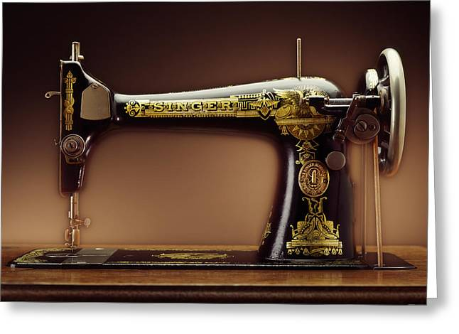 Antique Singer Sewing Machine Greeting Card by Kelley King