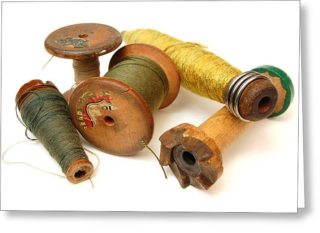 Looms Digital Art Greeting Cards - Antique Spools Greeting Card by Richard Ortolano
