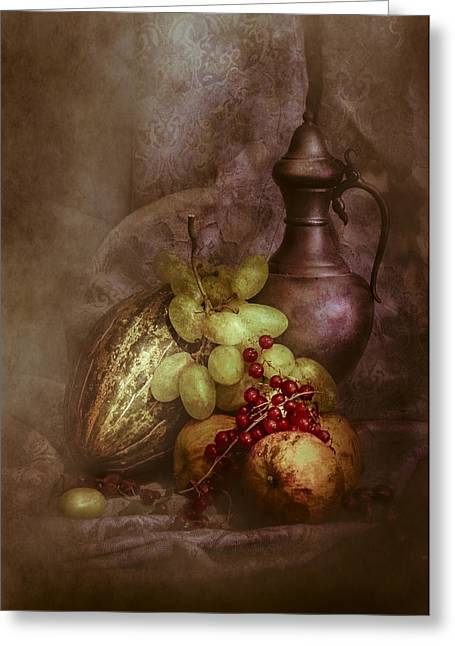 Photographs With Red. Greeting Cards - Antique still life with apples and grapes Greeting Card by Hugo Bussen
