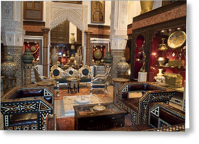 Souk Greeting Cards - Antique Store In The Souk, Fes, Morocco Greeting Card by Panoramic Images