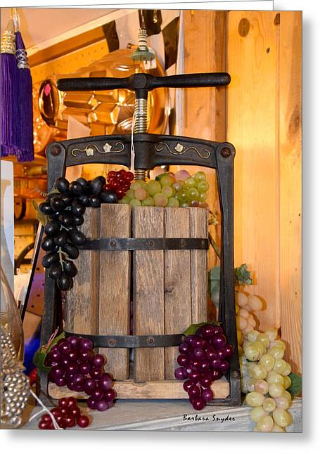 Grape Vineyard Greeting Cards - Antique Store Wine Press Greeting Card by Barbara Snyder
