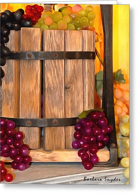 Grape Vineyard Greeting Cards - Antique Store Wine Press Small Greeting Card by Barbara Snyder