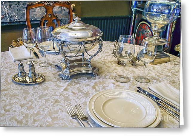 Menu Greeting Cards - Antique Tableware Greeting Card by Patricia Hofmeester