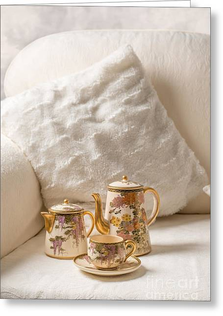 Cushion Photographs Greeting Cards - Antique Teaset On Sofa Greeting Card by Amanda And Christopher Elwell