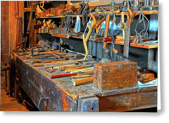 Coping Greeting Cards - Antique Tool Bench Greeting Card by Dave Mills