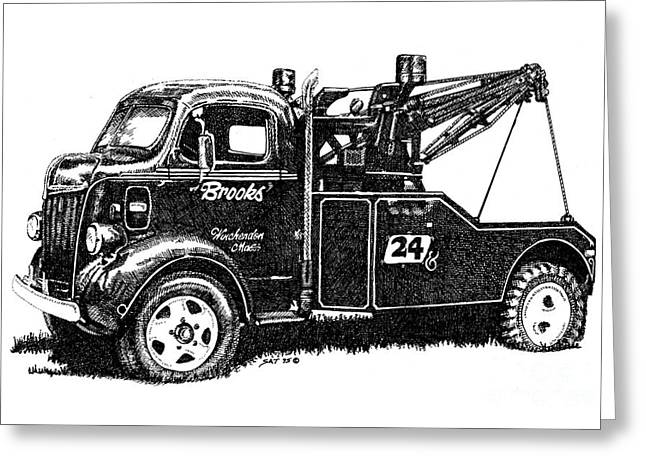Antique Tow Truck Greeting Card by Sheryl Unwin