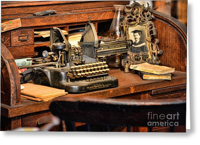 Typewriter Greeting Cards - Antique Typewriter Greeting Card by Paul Ward