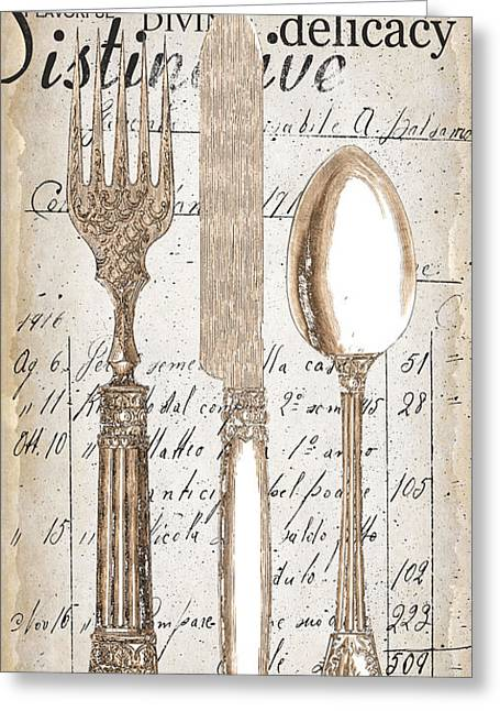 Dining Greeting Cards - Antique Utensils for Kitchen and Dining in White Greeting Card by Grace Pullen