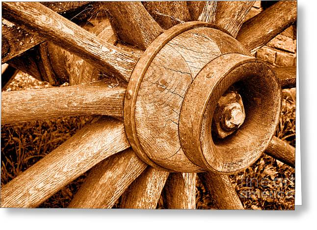 Antique Wagon Wheel - Sepia Greeting Card by Olivier Le Queinec