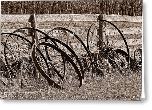 Wheels Photographs Greeting Cards - Antique Wagon Wheels I Greeting Card by Tom Mc Nemar