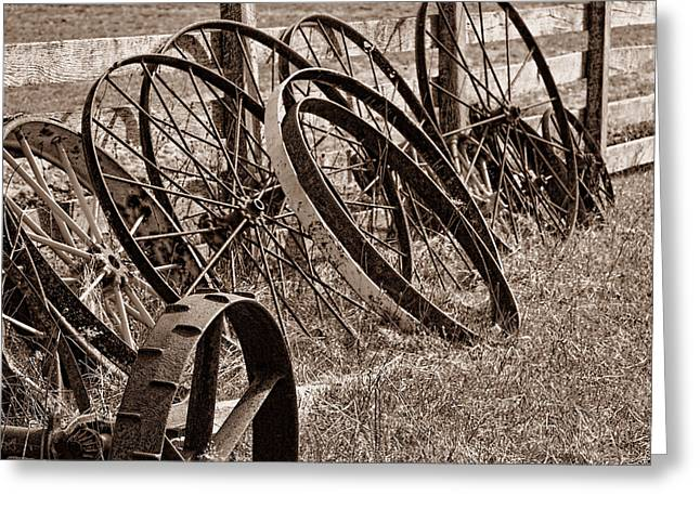 Wheels Photographs Greeting Cards - Antique Wagon Wheels II Greeting Card by Tom Mc Nemar