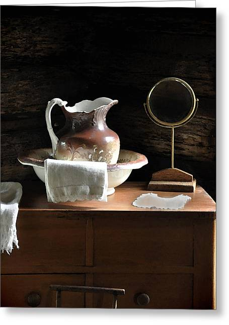 Bathroom Prints Greeting Cards - Antique Water Pitcher on Bureau Greeting Card by Rebecca Brittain