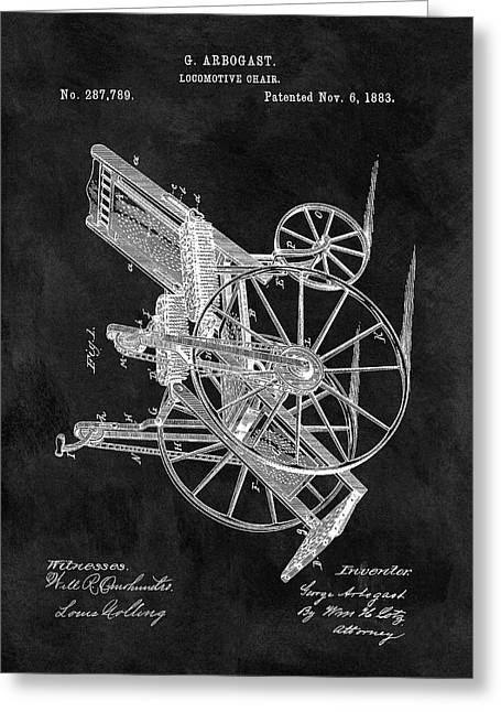 Antique Wheelchair Patent Greeting Card by Dan Sproul
