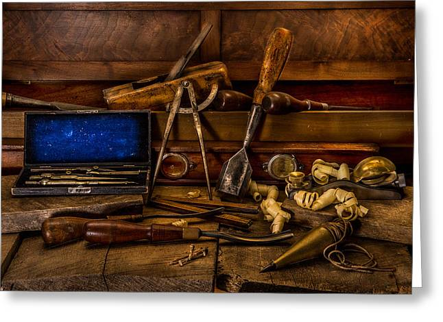Woodworking Art Greeting Cards - Antique Woodworking Tools Greeting Card by Paul Freidlund