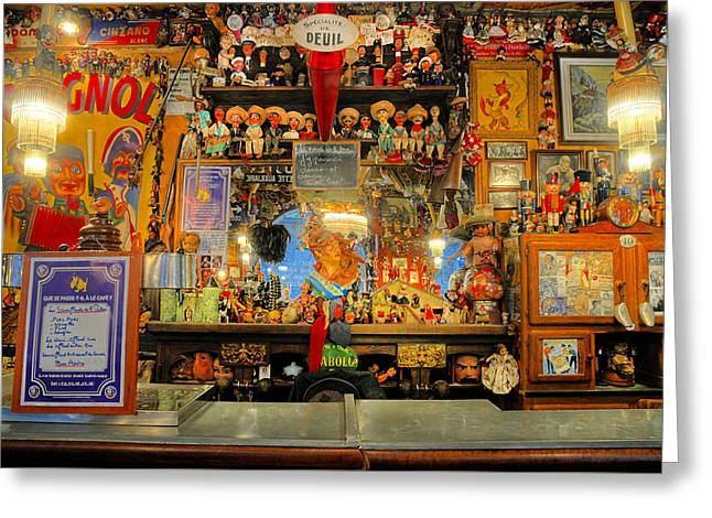Toy Shop Greeting Cards - Antiques In A French Cafe Greeting Card by Dave Mills