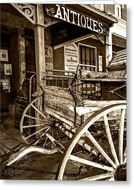 Historic Country Store Greeting Cards - Buckboard Greeting Card by Maria Coulson
