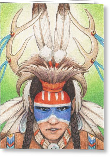 Fancy-dancer Greeting Cards - Antlered Warrior Greeting Card by Amy S Turner