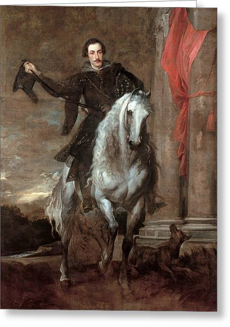 Anton Giulio Brignole-sale On Horseback Greeting Card by Anthony van Dyck