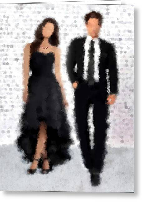 Fashion Art For Print Greeting Cards - Antonia and Giovanni Greeting Card by Nancy Levan