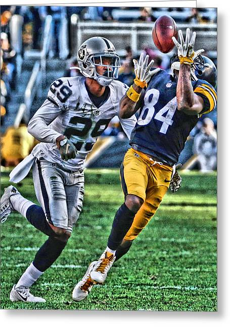 Antonio Brown Steelers Art 3 Greeting Card by Joe Hamilton