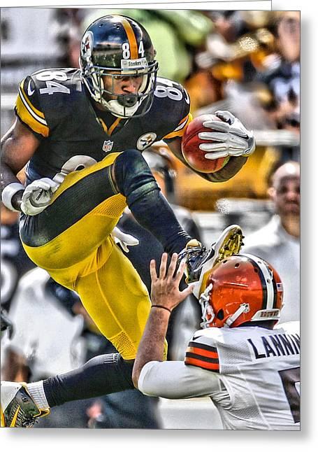 Antonio Brown Steelers Art 5 Greeting Card by Joe Hamilton