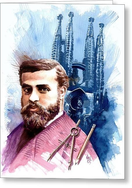 Architect Greeting Cards - Antonio Gaudi Greeting Card by Ken Meyer jr