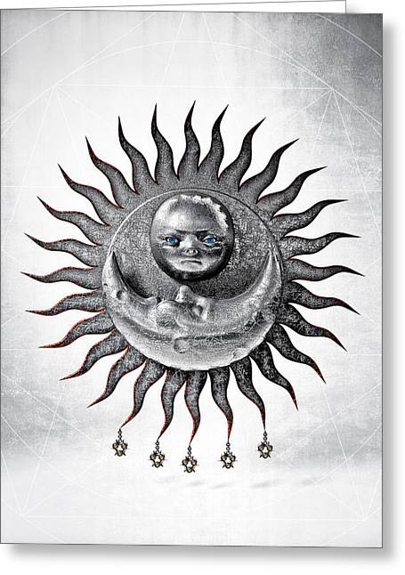 Boddhisatva Greeting Cards - Tantra of the Great Secret Union of the Sun and Moon Greeting Card by Third Eye Guide Dog
