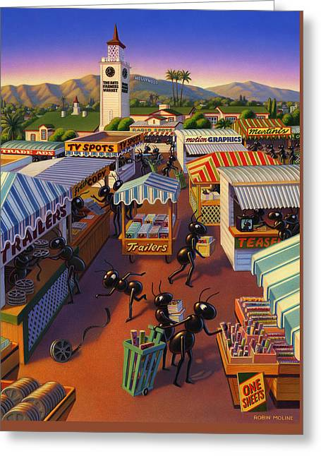 Ants At The Hollywood Farmers Market Greeting Card by Robin Moline