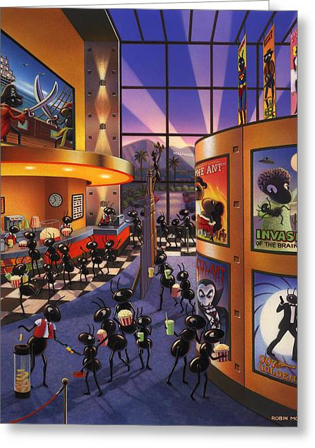 Ants At The Movie Theatre Greeting Card by Robin Moline