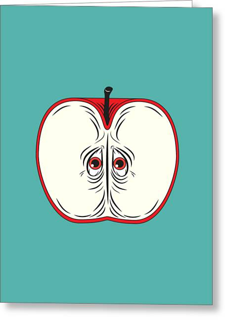 Seeds Drawings Greeting Cards - Anxiety Apple Greeting Card by Nicholas Ely
