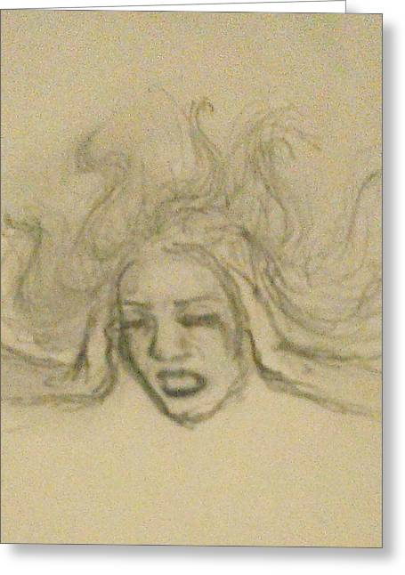 Anger Drawings Greeting Cards - Anxiety Greeting Card by Jennie Hallbrown