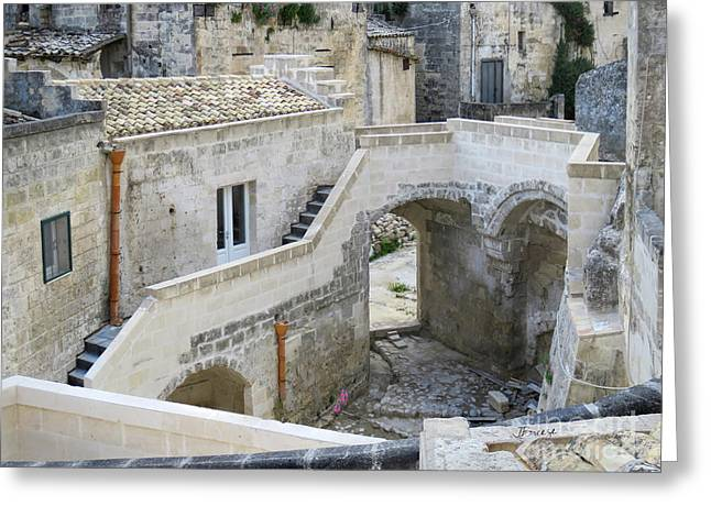 Caves Greeting Cards - Any Which Way.Matera.Italy Greeting Card by Jennie Breeze