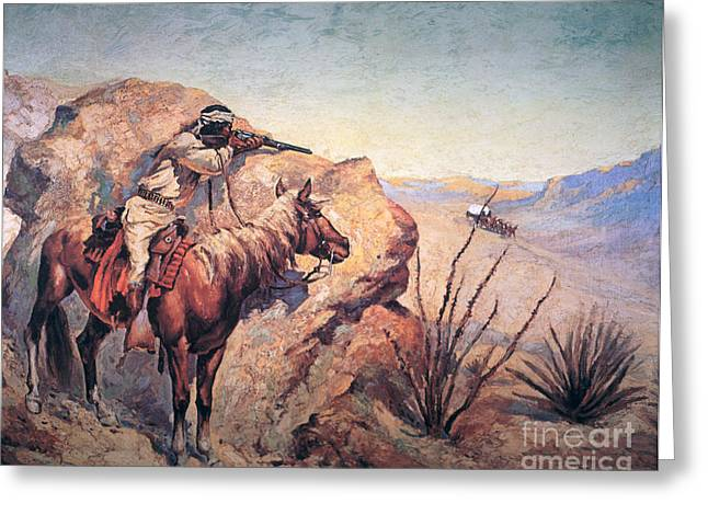Danger Greeting Cards - Apache Ambush Greeting Card by Frederic Remington