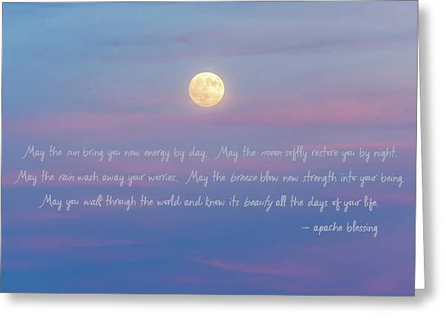 Apache Blessing Harvest Moon 2016 Greeting Card by Terry DeLuco